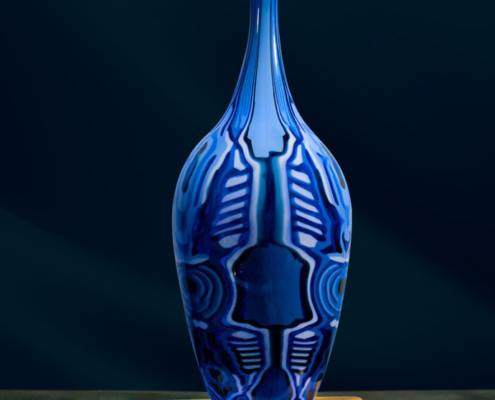 Deep Cobalt and Lapis Pattern Bar Vase